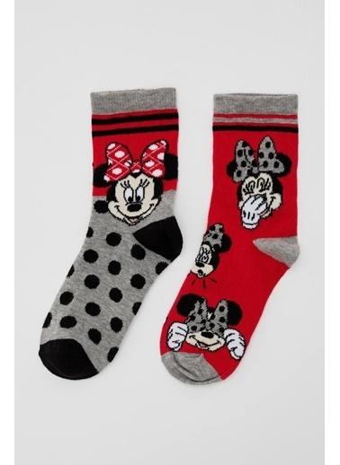 DeFacto Kız Çocuk Mickey Mouse Lisanslı 2'li Soket Çorap Renkli